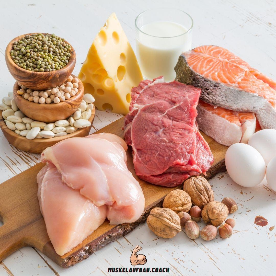 Proteinreiche Lebensmittel für Muskelaufbau.